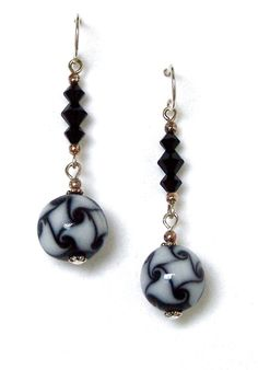 Black & White Marbled Glass Earrings