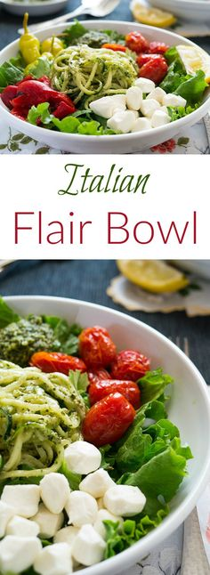 This Italian Flair Bowl can transform your lunch into a work of art. Spiralized zucchini and fresh basil pesto star in this Golden LIon worthy salad.