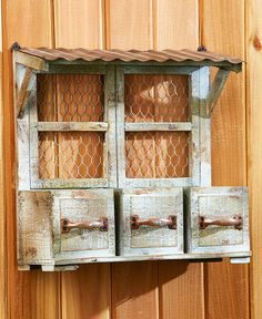 Details about Rustic Wall Hanging Planter Box Wood And Metal Country Outdoor Garden Decor Vintage Garden Decor, Outdoor Garden Decor, Diy Garden Decor, Garden Ideas, Hanging Planter Boxes, Metal Roof, Wood And Metal, Metal Chicken, Rustic Planters