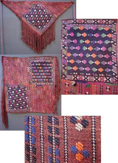 Woman's 'arkalık' (waist cloth, worn on the backside), from the Dursunbey area (80 km east of Balıkesir), ca 1925-1950.  Rural weaving, wool, 'cicim'-technique (sometimes referred to as 'brocading').   The warp threads are worked into long fringes on both sides of the fabric.  In order to wear it, the square cloth is folded diagonally; the waist cloth has then two (slightly) different sides.  (Inv.n° ark037 - Kavak Folklor Ekibi & Costume Collection-Antwerpen/Belgium).