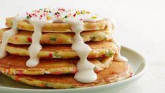 Cake batter-flavored pancakes that are a sweet treat for a special occasion or fun everyday breakfast. Now you can have cake for breakfast!