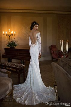 2016 Berta Full Lace Backless Wedding Dresses Mermaid Off The Shoulder Long Sleeves Wedding Gowns Chapel Train Beaded Trumpet Bridal Gown