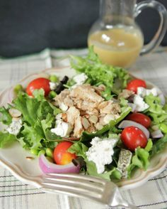 Summer Salad with Salmon and Homemade Honey Mustard Dressing