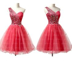 red homecoming dresses, one shoulder homecoming dresses, cute homecoming dresses, cheap homecoming dresses, prom dress online, CM563