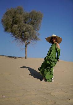 Louise Xin - Cult Gaia Green Ruffle Dress, H&M Silk Sandals, Straw Hat - Dubai desert Off White Belt, Dubai Desert, Yeezy Season, Ruffle Dress, Green Dress, Celine, Paris, Hat, Silk