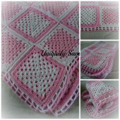 Crochet blanket afghan crochet baby blanket pink crochet afghan custom blanket pink blanket girls blanket (80.00 GBP) by UniquelySam