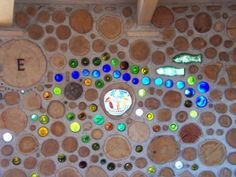 Cordwood glass detail -  Earthwood Building School