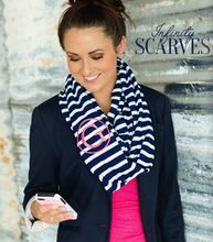 Cute Monogrammed Navy and White Stripe Scarf makes a great Valentine Gift Idea! Image Navy Stripe Monogrammed Infinity Scarf