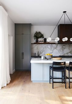 Magnolia House by Arent & Pyke, Vote for this project in the 2019 *Belle* Coco Republic Interior Design Awards Readers' Choice competition. Kitchen Buffet, Grey Kitchen Cabinets, Home Decor Kitchen, New Kitchen, Home Kitchens, Kitchen Grey, Kitchen Ideas, Kitchen Island, Gold Kitchen