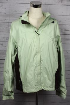 COLUMBIA Hooded Green Omni-Tech Waterproof Windbreaker Rain Jacket Womens sz L #Columbia #Windbreaker #Outdoor