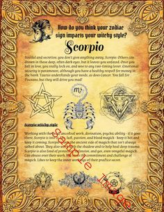 33 Scorpio Pages for Your Book of Shadows Astrology Chart, Astrology Signs, Astrological Sign, Zodiac Signs, Book Of Shadows Pdf, Find Your Zodiac Sign, Wiccan, Witchcraft, Magick Spells