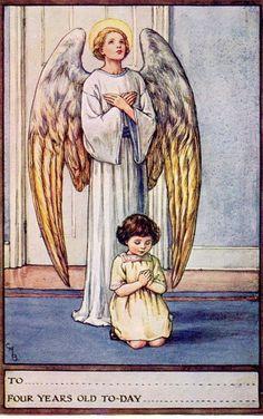 Angel Religious Child birthday Cicely M Barker postcard size  1920/30 s S P C K