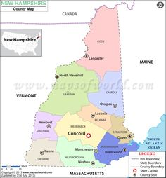 New Hampshire county map shows the various counties in the US state of New Hampshire