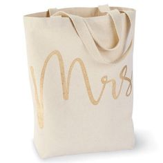 Mrs. Canvas Tote   Time Your Gift Printed Tote Bags, Canvas Tote Bags, Bride Gifts, Wedding Gifts, Things Kids Say, Wedding Canvas, Engagement Gifts, Wedding Engagement, Mud Pie