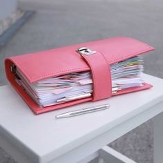 A5 leather planner peony pink with large rings