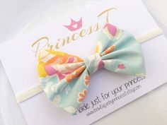 Girls/Baby Headband Mint FabricHair Bow w/ by BowtiquebyprincessT
