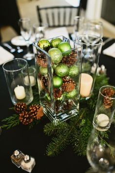 This looks very close to the centerpieces I made for my dear friend's Christmas wedding~~I added some silver. Noel Christmas, Green Christmas, Winter Christmas, All Things Christmas, Rustic Christmas, Christmas Balls, Christmas Ideas, Christmas Layout, Elegant Christmas