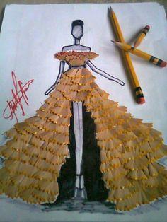 Extraordinary Pencil Shaving Art by Kristina Webb, oh mys gosh this so cool Pencil Shavings, Pencil Art, Fashion Design Drawings, Fashion Sketches, Kristina Webb Art, Collage Kunst, Fashion Illustration Dresses, Origami Fashion, Creative Artwork