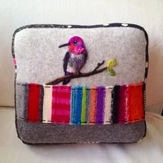 Needle Felted Anna's Hummingbird Pillow made from by ValsArtStudio, $118.00