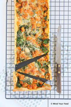 zoete aardappel spinazie quiche