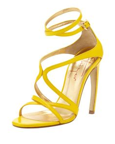 665ab6a8bb5 Strappy Leather Convex-Heel Sandal Yellow