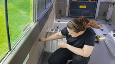 Claire removing the walls in their Toyota Coaster school bus conversion - small bus conversion Motorhome Conversions, School Bus Conversion, Wall Insulation, Rv Life, Conversation, Toyota, Coasters, How To Remove, Flooring