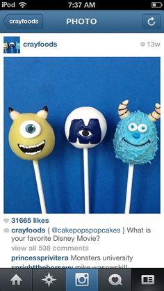 Monsters inc cake pops Monster University Birthday, Monster Inc Birthday, Monster Inc Party, Monsters Inc Cake Pops, Monster Inc Cakes, Boy Birthday Parties, Birthday Cakes, Fondant Cakes, Cupcake Cakes