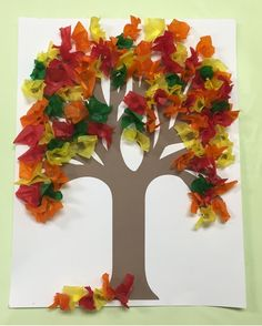 Use your pencil to make the leaves for this Fall Tissue Paper Tree. It gives the tissue paper depth and is less messy and quicker than rolling in a ball paper crafts Fall Tissue Paper Tree Fall Crafts For Kids, Thanksgiving Crafts, Holiday Crafts, Art For Kids, Fall Art For Toddlers, Autumn Art Ideas For Kids, Kids Diy, Summer Crafts, Tissue Paper Trees