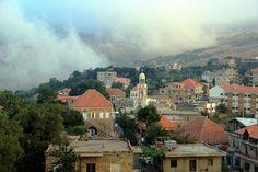 LEBANON, NORTH, HADATH EL JEBBE WITH CLOUDS