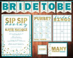 PRINTABLE Sip Sip Hooray, Bubbly Bridal Shower Party Pack - Invitation, banner, games, favor tags & thank you cards