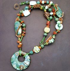 Wire Connetions - Ryolite Artisan Necklace - OOAK   by Francesca Lynn
