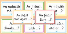 A lovely set of display posters showing how to start asking some common questions in Irish. Primary Resources, Primary Teaching, Teaching Resources, Teaching Ideas, Classroom Posters, Classroom Displays, Classroom Ideas, Gaelic Words, Irish Language