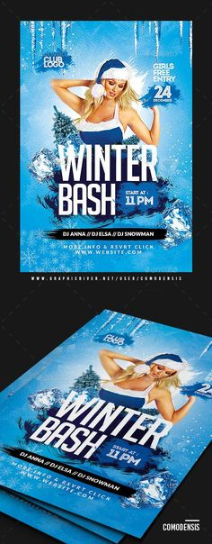 New Year Flyer and Poster Bundle Event flyers, Template and - winter flyer template
