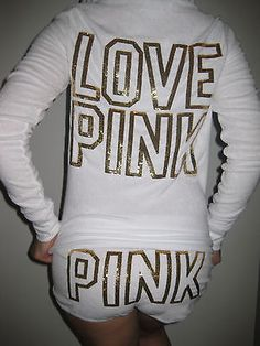 Victoria Secret Pink White bling Terrycloth Hoodie & short set swim cover up XS