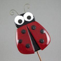 Ladybug Garden Stake Fused Glass Ladybug by AngelasGlassStudio, $13.00