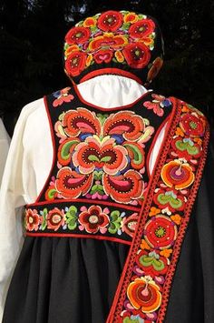 Folk Costume: Bunad and Rosemaling embroidery of upper Hallingdal, Buskerud, Norway Folk Fashion, Ethnic Fashion, Textile Design, Textile Art, Folklore, Folk Costume, Costumes, Scandinavian Embroidery, Motifs Textiles