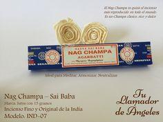 Nag Champa Sai Baba - El Nag Champa es quizá el incienso más reproducido en todo el mundo. Es un Champa clásico, rico y dulce. Ideal para Meditar, Armonizar, Neutralizar.