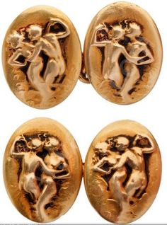 Lalique 1901 'Naiads & Tritons' Cufflinks: gold oval forms each featuring a mythical female & male figure in different poses- Now imagine getting that as a prezzie in 1901...what the gentleman who received that must have been in for!