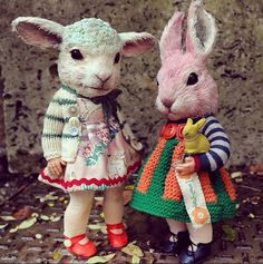 Annie Montgomerie ooak art dolls lamb and bunny (please follow minkshmink on pinterest)
