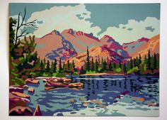 vintage paint by number Bedroom Murals, Wall Murals, Wall Art, Paint By Number Vintage, Timberwolf, Number Art, Vintage Travel Posters, Paint Party, Watercolor Landscape