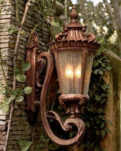 If you are having difficulty making a decision about a home decorating theme, tuscan style is a great home decorating idea. Many homeowners are attracted to the tuscan style because it combines sub… Tuscan Design, Tuscan Style, Style Toscan, French Style, Tuscan House, Tuscan Decorating, Street Lamp, Wall Lantern, Copper Lantern