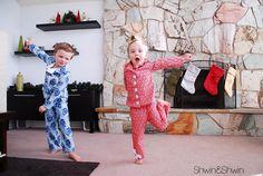 Christmas Pajamas {Free PDF Pattern} - Shwin&Shwin free sewing tutorial and pattern size Sewing Patterns For Kids, Sewing For Kids, Baby Sewing, Free Sewing, Sewing Ideas, Boys Christmas Pajamas, Baby Boy Christmas, Funny Christmas, Cute Pajamas