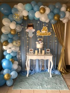 Baby Boy Birthday Themes, Elsa Birthday Party, Birthday Balloons, Baby Shower Deco, Baby Shower Balloons, Baby Boy Shower, Baptism Decorations, Diy Birthday Decorations, Ideas Bautizo