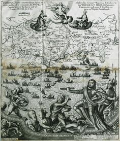 1669 Χάρτης της κεντρικής Κρήτης. Ύστερα από αρκετές δεκαετίες πολιορκίας η Κρήτη θα περάσει, το 1669, από τους Ενετούς στους Οθωμανούς. Στο πρώτο επίπεδο αποτυπώνεται η ναυμαχία της 8ης Μαρτίου 1668 ανάμεσα στον οθωμανικό και βενετικό στόλο έξω από τνον Χάνδακα. Ο στρατηγός Μοροζίνη πατά πάνω σε αιχμαλώτους oθωμανούς αξιωματούχους. - PALMER, Roger, Earl of Castlemaine -  - Τόποι - Μνημεία - Άνθρωποι - Νοτιοανατολική Ευρώπη - Ανατολική Μεσόγειος - Ελλάδα - Μικρά Ασία - ...