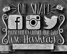 Instagram Wedding, Instagram Sign, If You Instagram, Wedding Instagram, Chalk Art, Chalkboard Art, Instagram Wedding Printable, Facebook on Etsy, $10.00