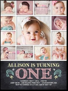 First Birthday invite with pictures