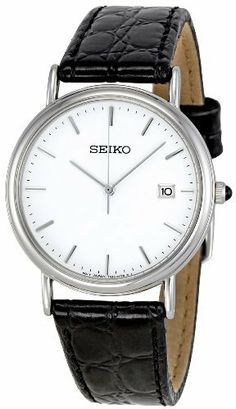 Seiko Men's SKK693 Leather Strap Watch Seiko. $127.25. Case diameter: 34 mm. Metal case. Water-resistant to 30 m (99 feet). Quartz movement. Hardlex