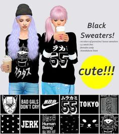 Sulsul Sims: Black sweaters • Sims 4 Downloads