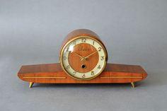 Vintage mantel clock table clock Sieco wooden clock Mid Century Modern brass on Etsy, $166.67