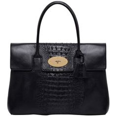 MULBERRY Bayswater Embossed Nappa Leather Bag (148,845 INR) ❤ liked on Polyvore featuring bags, handbags, black, black purse, croco handbags, embossed leather handbag, little black bag and embossed leather purse